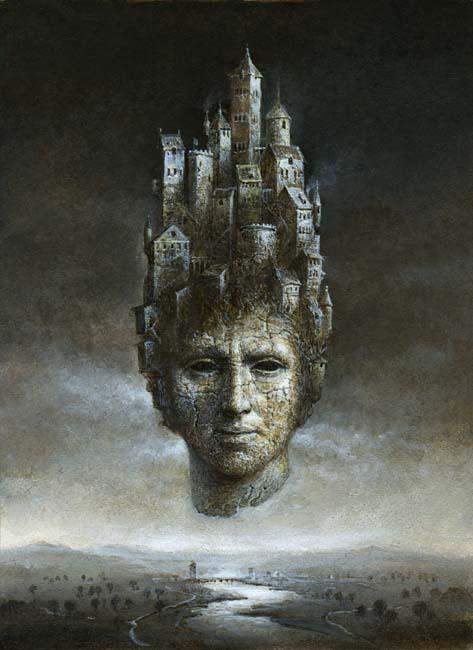 Yaroslav Gerzhedovich: Surrealistic Head, Acrylic on Paper.