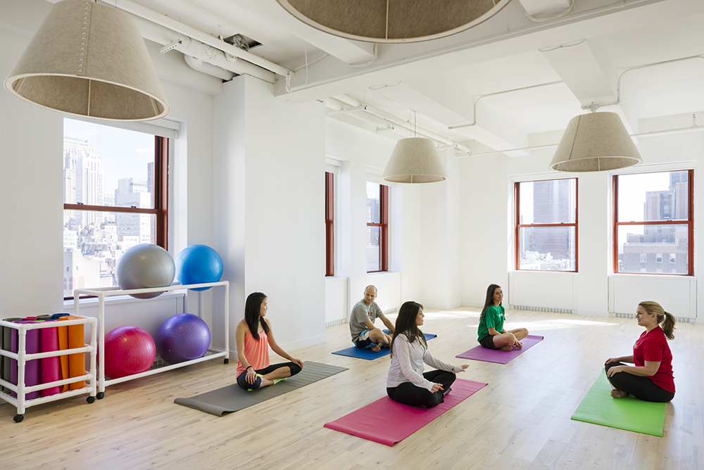One of our favorite rooms is the new yoga studio, where professional instructors will guide group classes. Photo: Bilyana Dimitrova