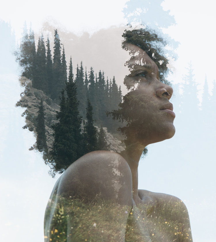 Double exposure portrait of a woman combined with nature | Victor Tongdee