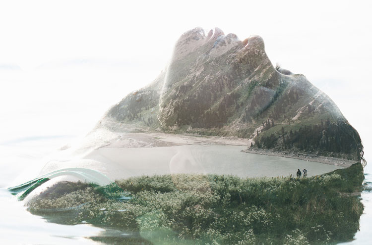 Double exposure portrait of a woman and a lake surrounded by mountains | Victor Tongdee