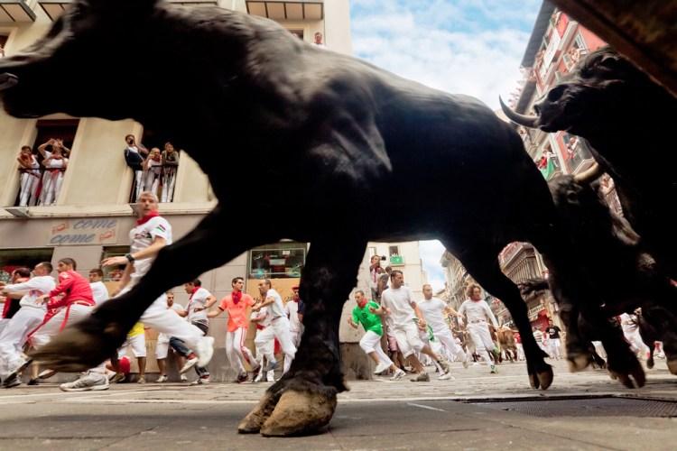 running of the bulls editorial stock photo