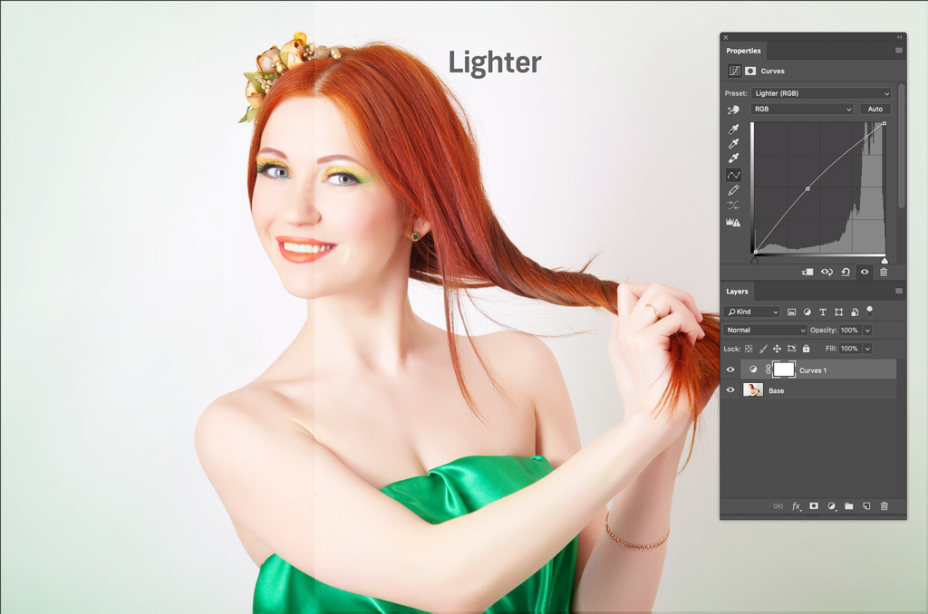 An Introduction to the Powerful Curves Adjustment Tool in Photoshop – Lighter Curve Adjustment