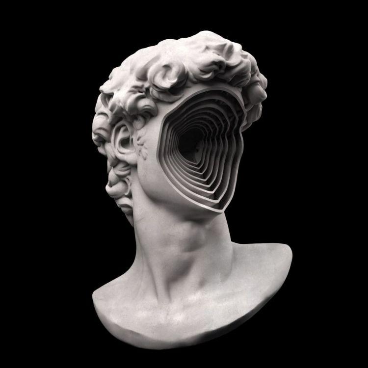 """Abstract 3D Rendering of Michelangelo's """"David"""""""